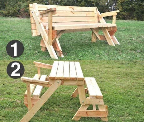 Klappbare Gartentisch mit Holzbank, Sitzbank Massiv, ausziehbar 1
