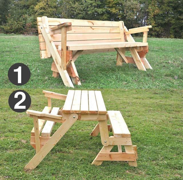 Gartentisch klappbar ausziehbar  Klappbare Gartentisch mit Holzbank, Sitzbank Massiv, ausziehbar ...