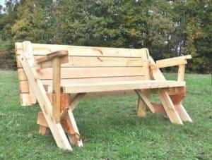 Klappbare Gartentisch mit Holzbank, Sitzbank Massiv, ausziehbar 2
