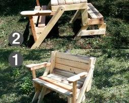 Klappbare Gartentisch mit Holzbank, Sitzbank Massiv, ausziehbar  für zwei 1n